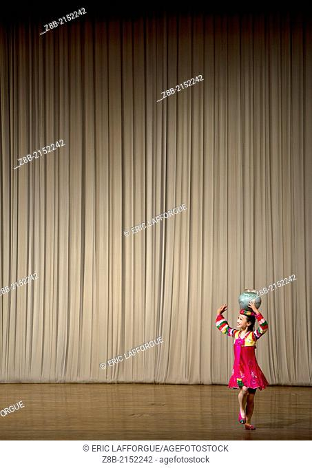 Young Artist On Stage In Mangyongdae Schoolchildren's Palace, Pyongyang, North Korea