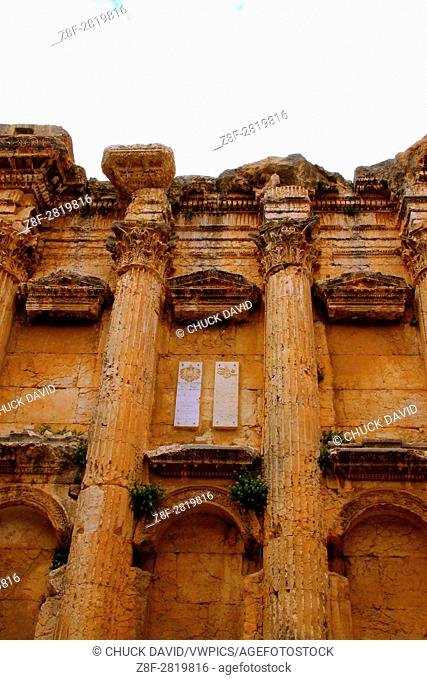 The imposing columns of the Temple of Bacchus and their ornate capitals in Baalbek, lebanon