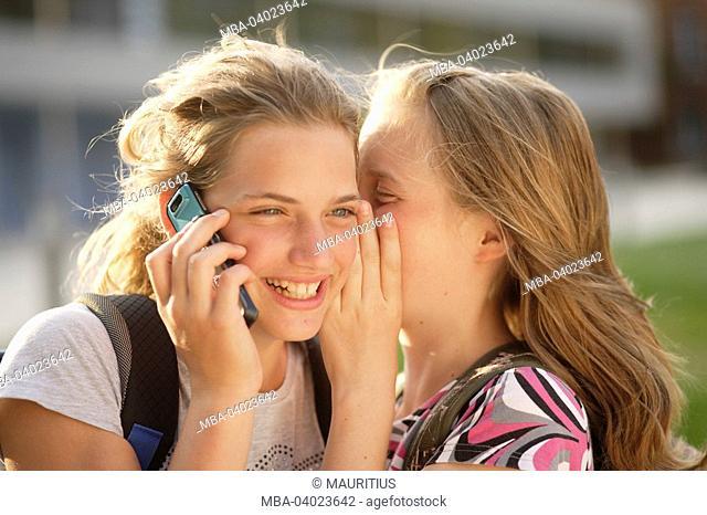 Children, girls, mobile phone, phones, whispers, fun, portrait