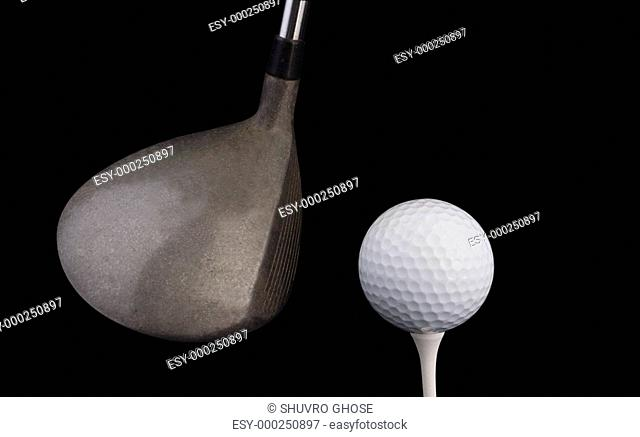 Golf ball on tee with driver w clipping