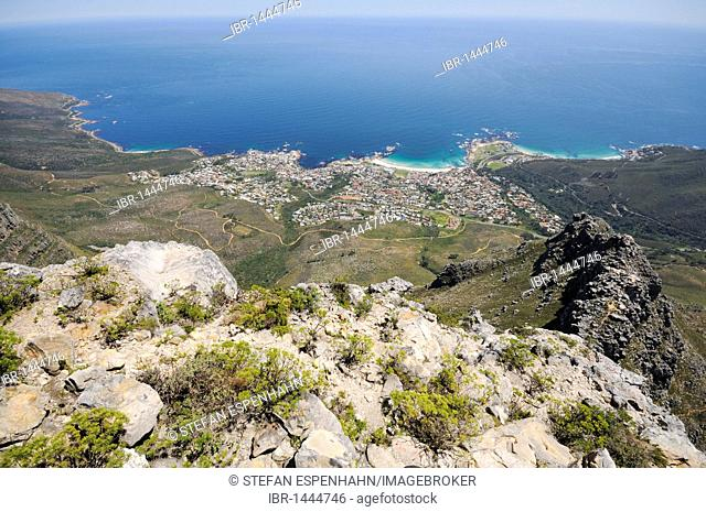 View from Table Mountain on Camps Bay, Cape Town, Western Cape, South Africa, Africa