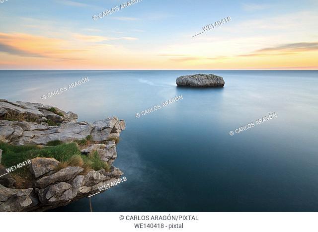 Cotonera island in Islares, Cantabria, Spain