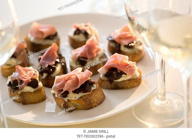 Studio Shot of canapes on plate