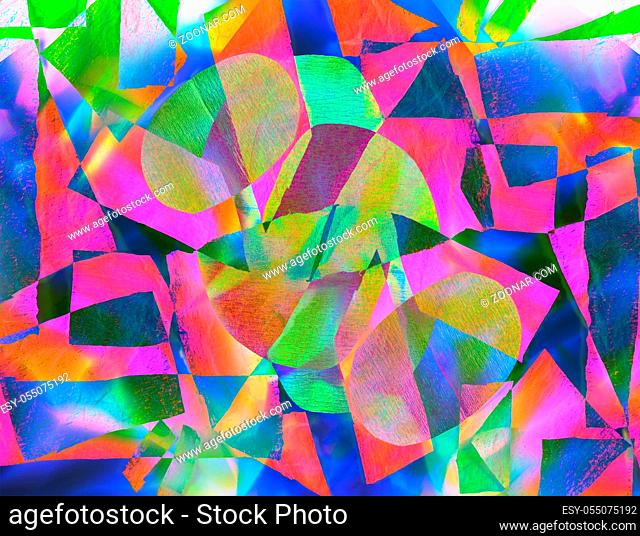 Abstract trendy holographic background in the style of the 80-90s. Real texture of crumpled cellophane film in bright acid colors