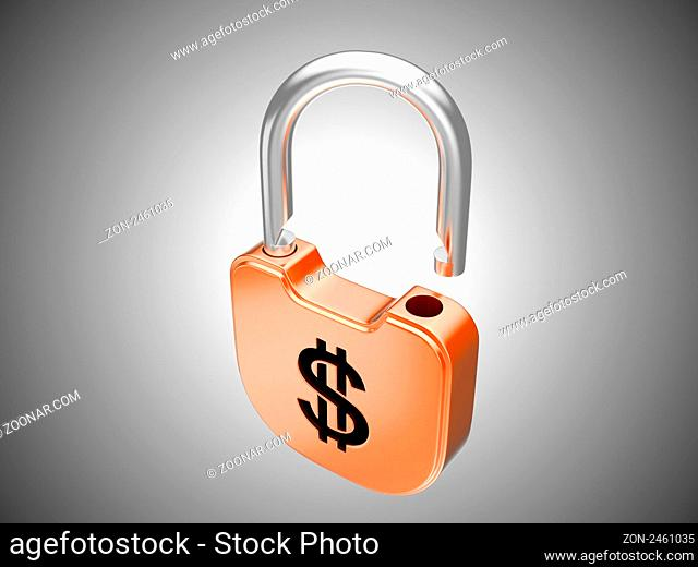 Unlocked lock: US dollar security currency concept. Over grey background