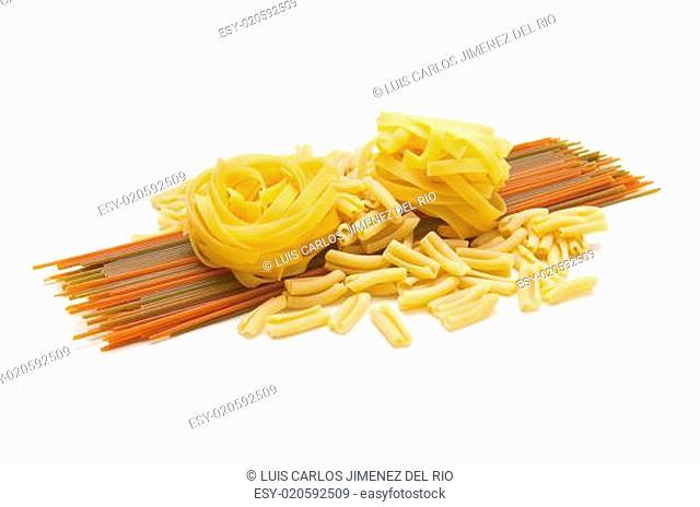 Italian pasta tagliatelle and spaghetti