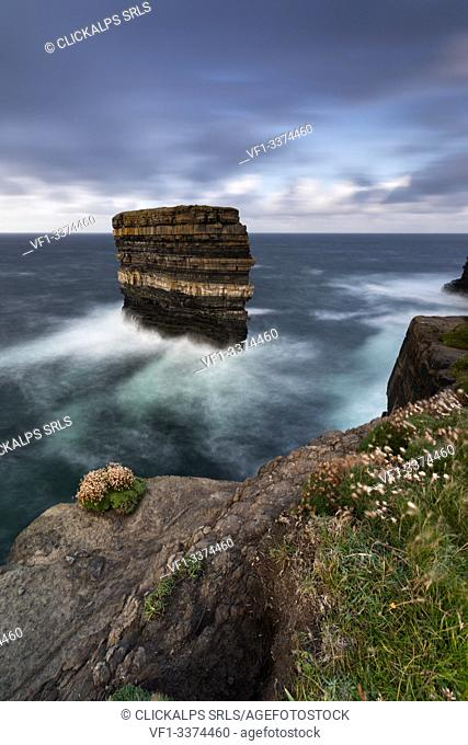the cliffs of Downpatrick Head in summer day, country Mayo, Connaught province, West Ireland, Europe
