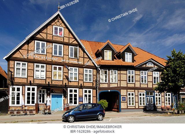 Historic half-timbered houses in the Harburger Schlossstrasse street in Harburg, Hamburg, Germany, Europe