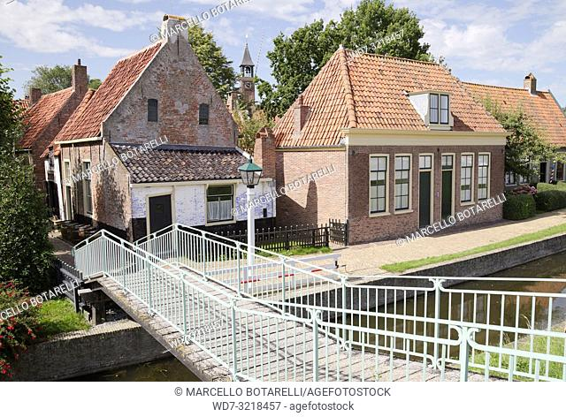 traditional fishermen's houses, enkhuizen, a small town in northern holland, an old fishing village
