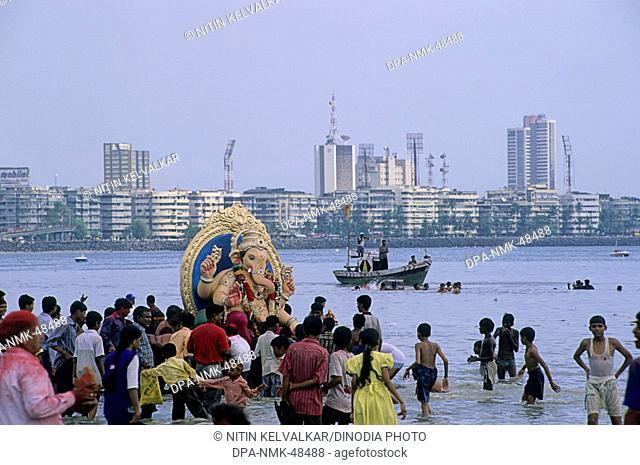 idol of lord ganesh (elephant headed god)  ;  Ganesh ganpati Festival ; mumbai bombay ; maharashtra ; india