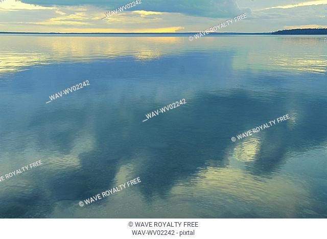 Reflection of clouds in Clear Lake, Canada, Manitoba, Riding Mountain National Park