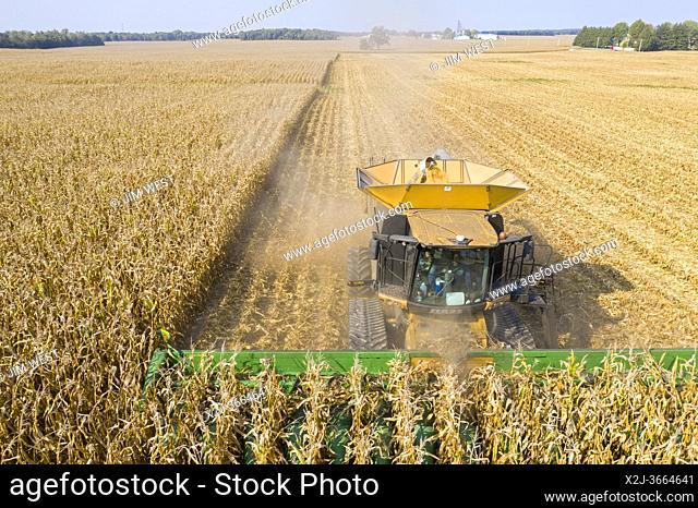 Fitchville, Ohio - Corn harvest on Ohio farm