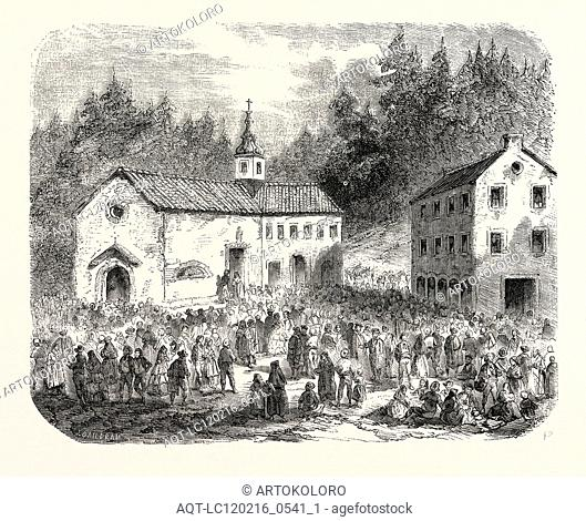 Fete of the Nativity of Our Lady: Pilgrimage to Our Lady of Font-Romeu (Pyrenees-Orientales), France, 1855. Engraving
