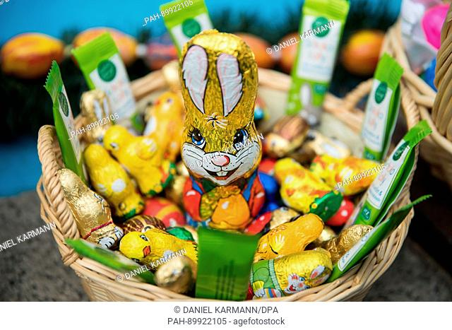 """An Easter nest with chocolate bunnies and chickens can be seen during the traditional game of """"""""Oierhiart'n"""""""" (egg tapping or egg jarping in Bavarian) in..."""