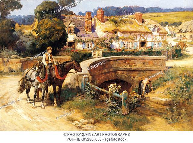 painting / Frederick Arthur Bridgman (1847-1927) American school Sunlit Cottages by the Bridge England, Cider House