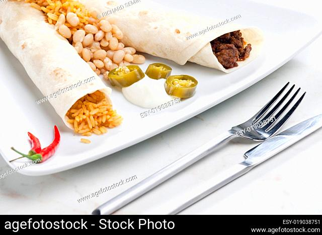 beef burritos with beans and rice