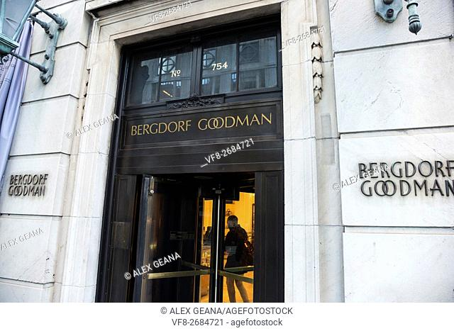 The door of the iconic luxury department store on Fifth Avenue Bergdorf Goodman