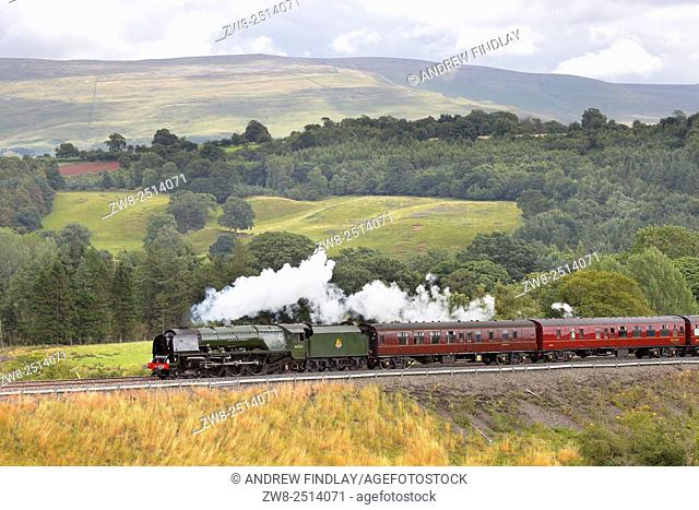 Steam locomotive LMS Princess Coronation Class 46233 Duchess of Sutherland on the Settle to Carlisle Railway Line near Lazonby, Eden Valley, Cumbria, England