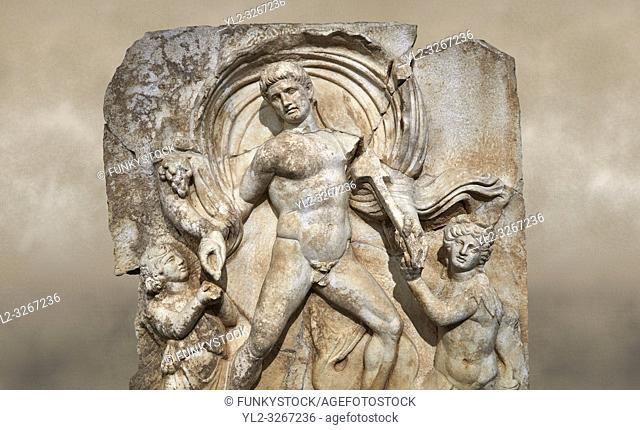 Roman Sebasteion relief sculpture of Emperor Claudius as God of sea and land, Aphrodisias Museum, Aphrodisias, Turkey. Against an art background.