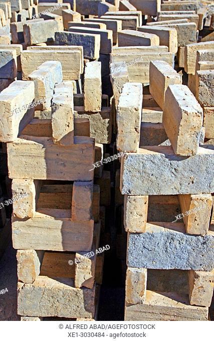handmade bricks, ceramics factory, Tozeur, Tunisia