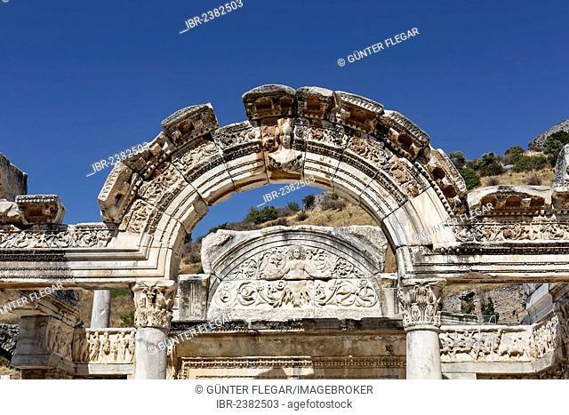Temple of Hadrian on the Curetes Street, ruins of Ephesus, UNESCO World Heritage Site, Ephesus, Ephesos, Efes, Izmir, Turkish Aegean, Western Turkey, Turkey