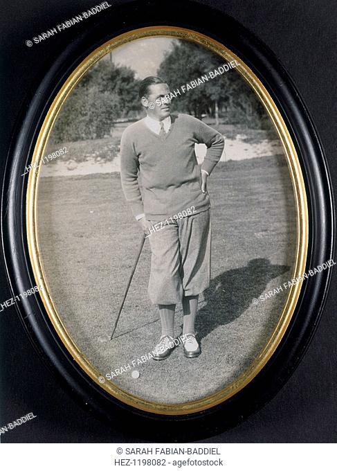 Framed photograph of Bobby Jones, c1930
