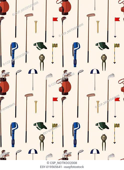 seamless cartoon golf game pattern