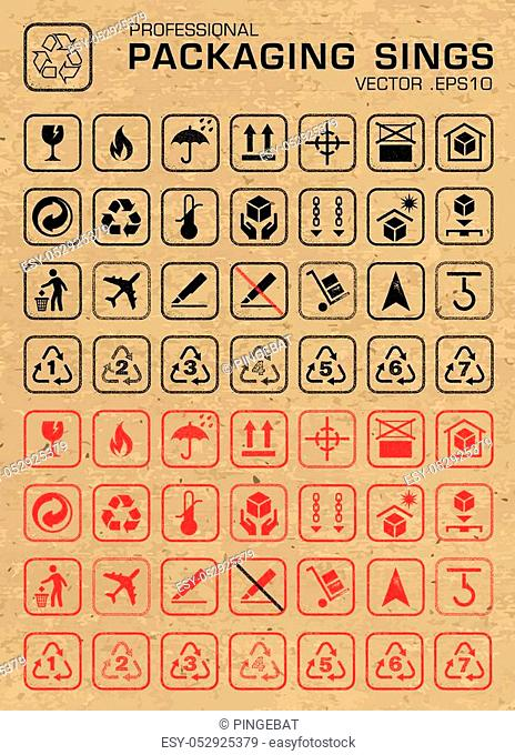 Set of many packaging grunge icons, for cargo, parcel, and all packaging needs, in both outlined and negative style