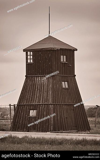 Guard tower in the former concentration camp Majdanek, Lublin, Poland