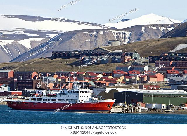A view of the town of Longyearbyen on the west side of Spitsbergen Island in the Svalbard Archipelago in the Barents Sea
