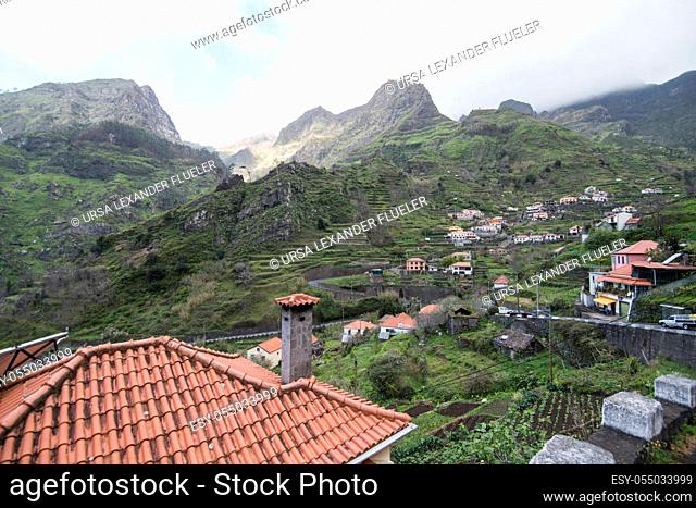 the landscape at the Valley of Serra de Agua on the Island of Madeira in the Atlantic Ocean of Portugal. Madeira, Porto Moniz, April, 2018