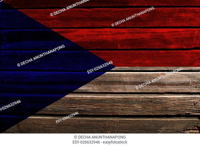 Flag of Czechoslovakia on a wood background