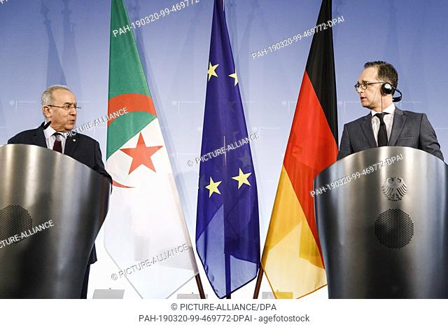 20 March 2019, Berlin: Heiko Maas (SPD), Federal Foreign Minister (r), and Ramtane Lamamra, Deputy Prime Minister and Foreign Minister of Algeria