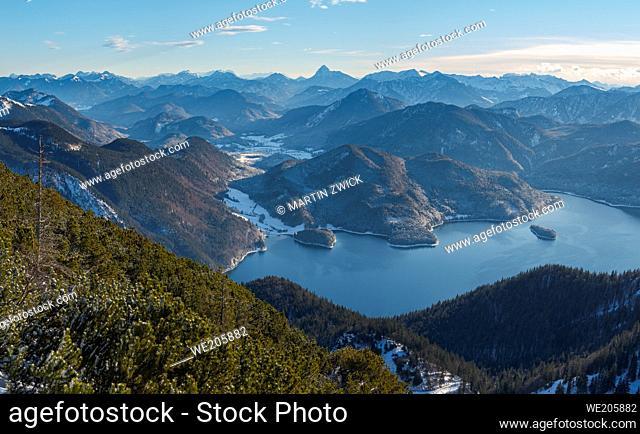 View towards lake Walchensee and Krawendel mountain range. View from Mt. Herzogstand near lake Walchensee. Europe, Germany, Bavaria