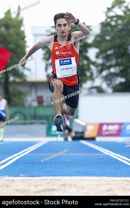 Stefano LO RICCO (GER, SV 98/07 Seckenheim), in the jump, action, triple jump, men, U20. Athletics Bauhaus Junior Gala, on July 3rd, 2021 in Mannheim / Germany
