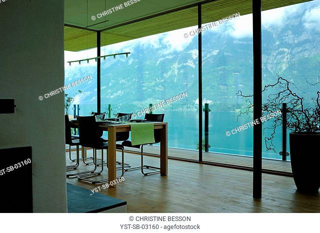 Slope, suspended house, Lake Walen, Glarus, Switzerland
