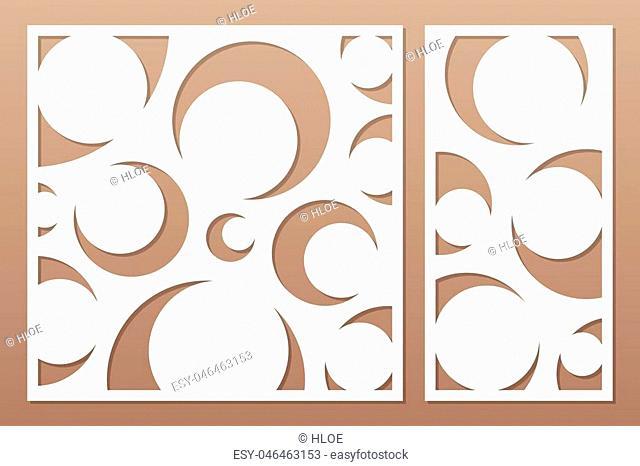 Decorative card set for cutting laser or plotter. Art deco pattern panel. Laser cut. Ratio 1:2, 1:1. Vector illustration