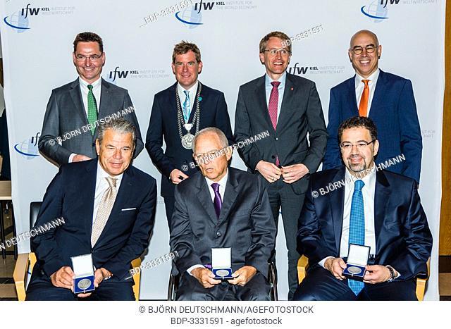 Kiel, Germany - June 23rd 2019: IfW President Prof. Gabriel Felbermayr, Ph.D., Kiel Mayor Dr. Ulf Kämpfer and the vice-president of IHK Schleswig-Holstein