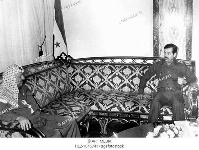 Yasser Arafat and Saddam Hussein, Iraq, 1987. A meeting between the leader of the Palestine Liberation Organisation (PLO) and the President of Iraq