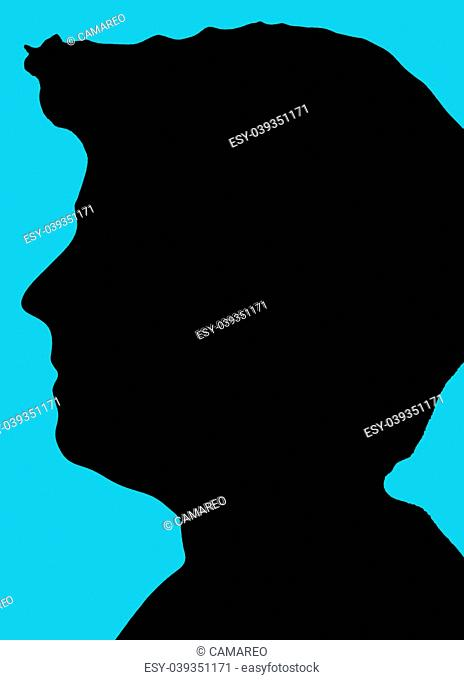 silhouette head with blue background