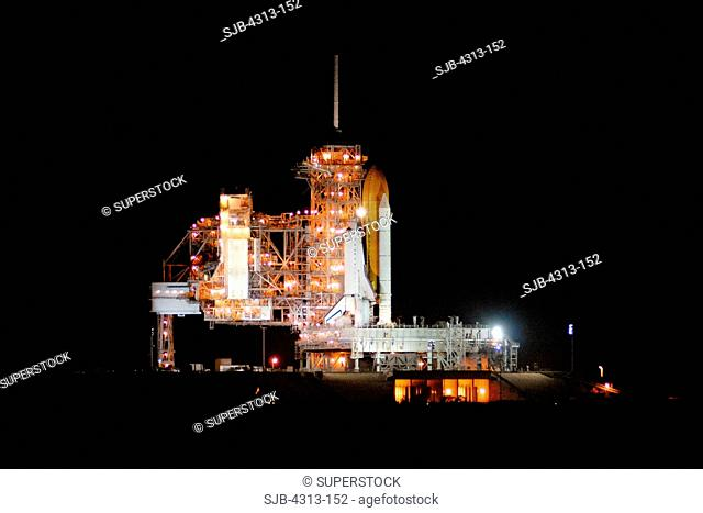 Space Shuttle Atlantis sits on Pad 39A for STS-122 after a launch scrub in December 2007