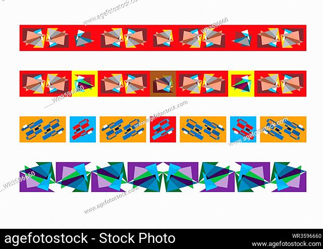 Frieze border patterns, Abstract colorful geometric ornate decor