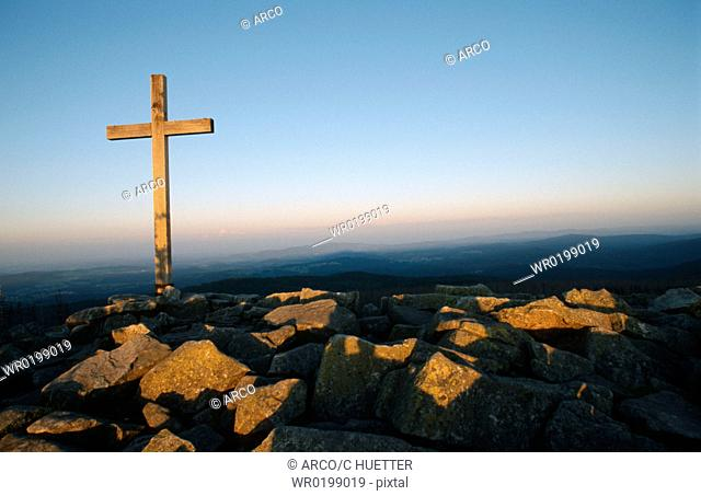 Summit, of, Lusen, at, dawn, Bavarian, forest, Bavaria, Germany