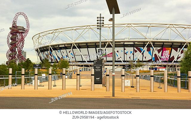 London 2012 Olympic Stadium now the home of West Ham United football club and Arcelor Mittal Orbit, Queen Elizabeth Olympic Park, Stratford, London