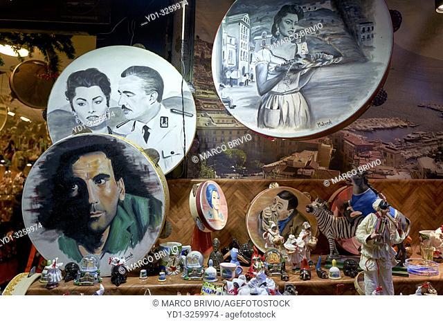 Naples Campania Italy. A souvenirs shop in Via San Gregorio Armeno