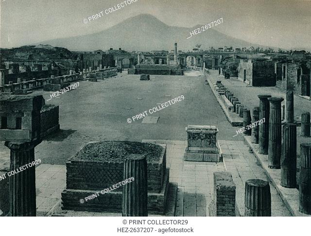 View of the forum with Mount Vesuvius in the distance, Pompeii, Italy, 1927. Artist: Eugen Poppel