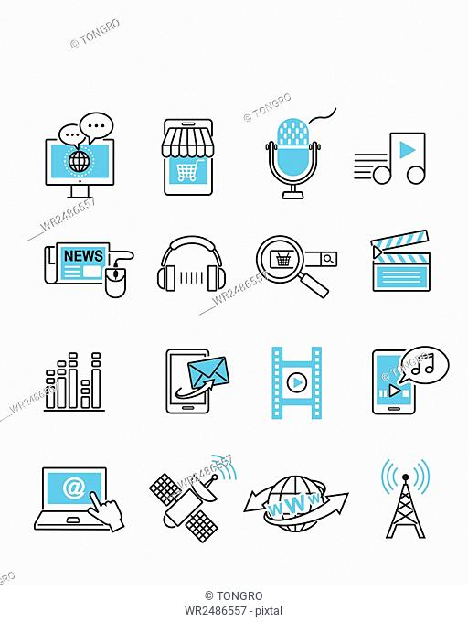Set of various line icons related to multimedia and communication on internet