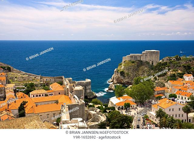 View over the orange tiled roofs of old town Dubrovnik Croatia