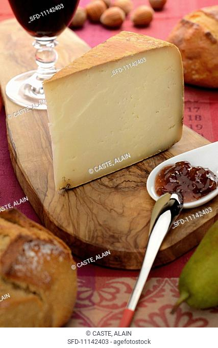 A slice of Ossau-Iraty sheep's cheese