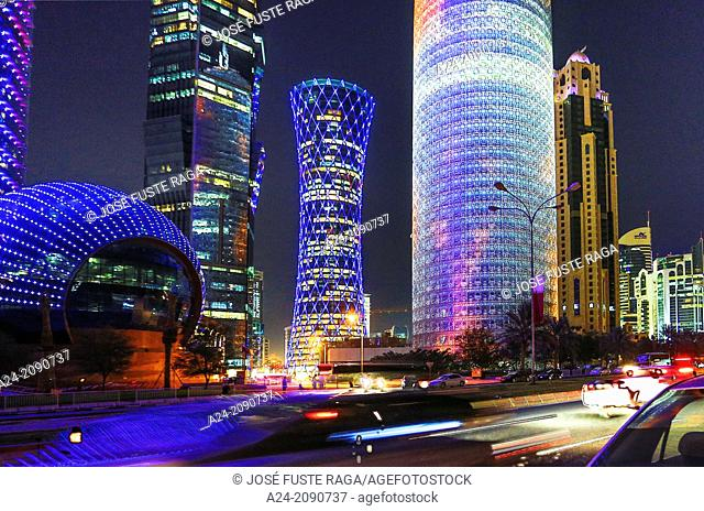 Qatar , Doha City,New Doha at night